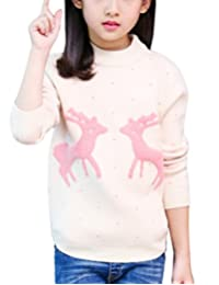 MFrannie Girl Christmas Deer Dot Graphic Round Collar Pullover Sweater