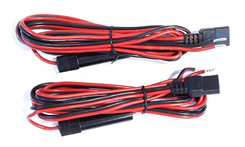 2-Pack, 6 Foot CB Radio Power Cord with 3-Pin Connector, 14 Gauge Wire and 12 Amp Fuse