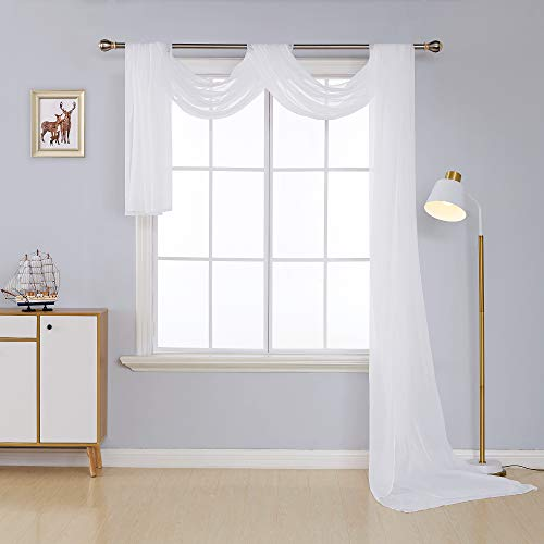 Deconovo Decorative Window Voile Sheer Scarf Valance Curtain Panel for Window White 54W x 216L Inch One Panel ()