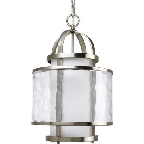 Framed Glass Pendant (Progress Lighting P3701-09 1-Light Bay Court Foyer Fixture, Brushed Nickel)