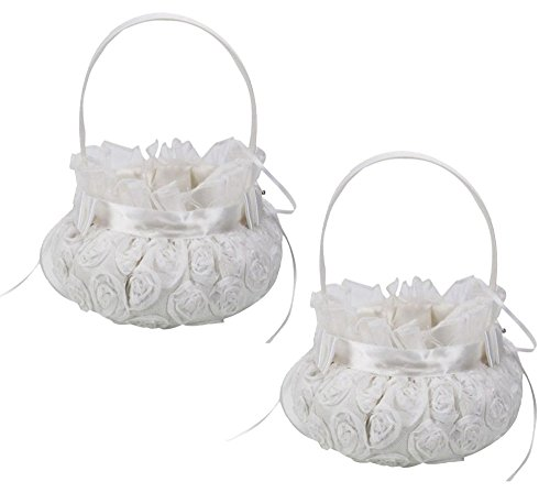 SHZONS 2pcs/Pack Embroidered Wedding Flower Girl Basket Bridal Basket Petal Basket Lace Bowknot for Wedding Ceremony Party(White) by SHZONS
