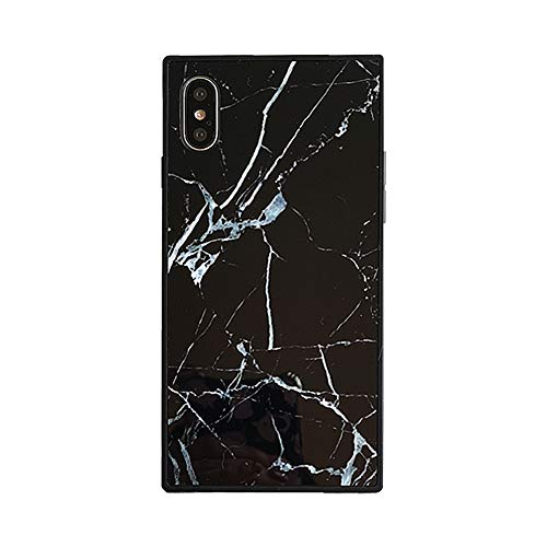 Chic Square Marble Case for iPhone Xs X 10 Retro Classic Glossy Cover Slim Soft Flexible TPU Shockproof Trunk Back Shell (Black, iPhone X/XS 5.8'')