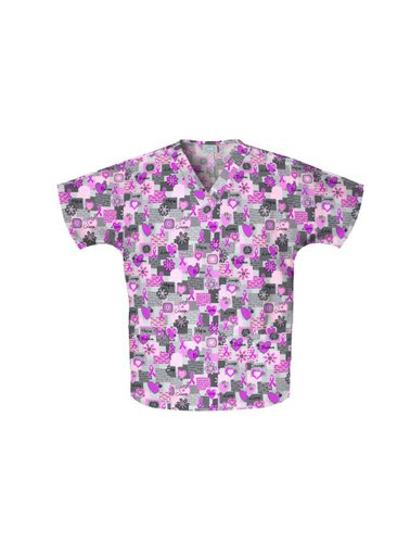 Cherokee Scrub H.Q. by Women's Discount V-Neck 2-Pocket Tunic Style Breast Cancer Awareness Print Scrub Top X-Large (Cherokee Two Pocket Tunic)
