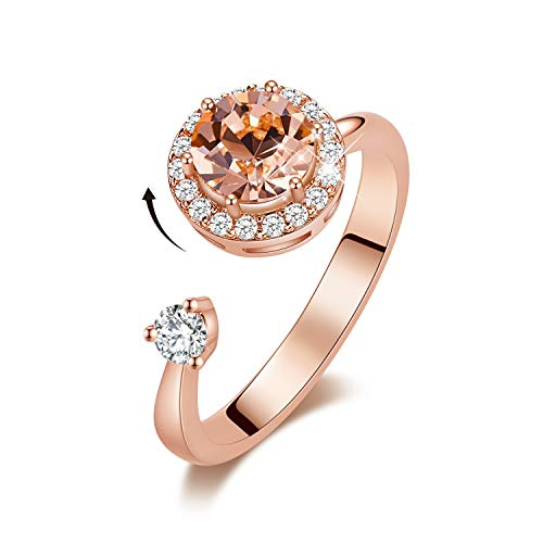 CDE Birthstone Rings for Women Rose Gold Plated Embellished with Crystals from Swarovksi Open Expandable Design Fit Size for 6-8, Gift for Women (Aquamarine 18k Rose)