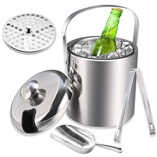 The perseids Ice Bucket Set, Stainless Steel Double Wall Insulated Ice Bucket with Lid, Tongs and Scoop, Portable Ice Container for Picnic, BBQ, Parties, Bar and Outdoor Activities