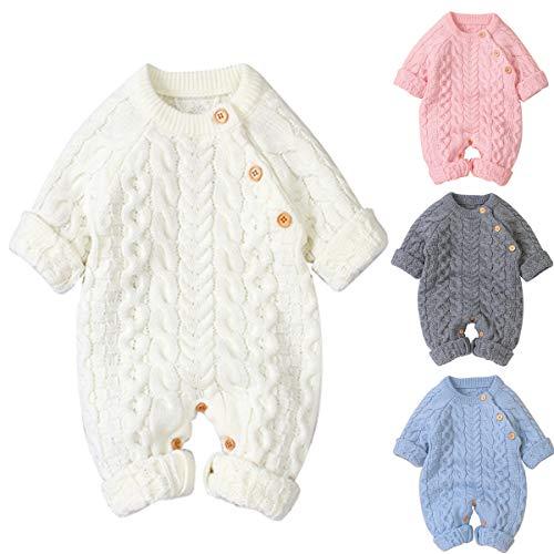 Baby Footies Knit Romper Jumpsuit Lange mouwen Bovenkleding Outfits, Sweater Jumpsuit Winter Knit Romper Kleding voor 0…