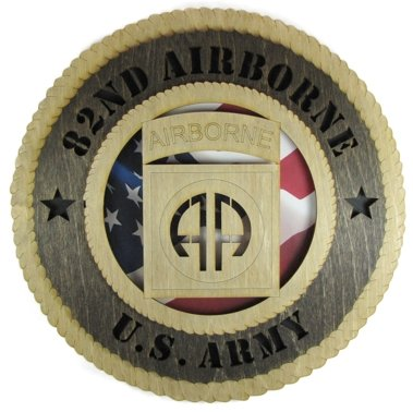 (Army 82nd Airborne Laser Cut Military Wall Plaque with American Flag)