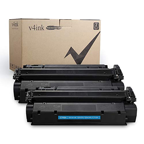 V4INK 2-Pack New Compatible High Yield C7115X Toner Cartridge Replacement for use with HP 15X HP Laserjet 1000 HP Laserjet 1005 1150 HP Laserjet 1200 1300 HP Laserjet 3300 3310 3320 3330 3380 Printer
