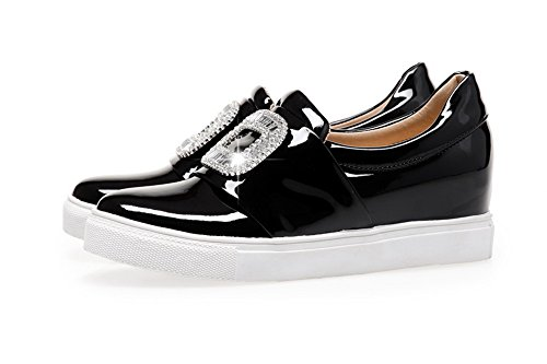 Pull Toe Pumps AmoonyFashion Closed Solid Round Kitten Heels Womens On Black Shoes wW7xO0