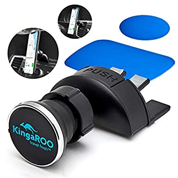 KingaROO Car Phone Mount – Magnetic Air Vent Cell Phone Holder for AC Or CD Player – Clip Auto Magnet Mobile Holders…