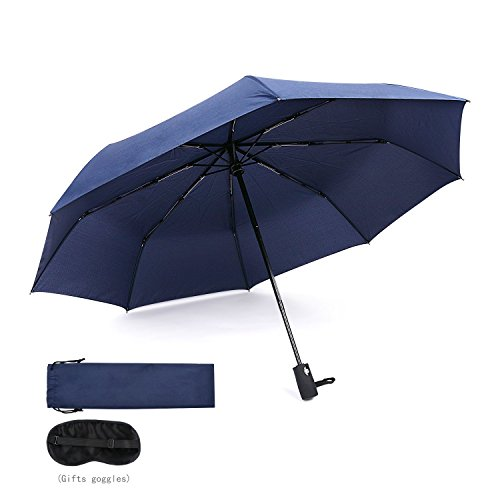 45 Inch Automatic Open Windproof Waterproof 8 Ribs Umbrella Super Strong Travel Fast Drying Teflon Canopy Umbrella(Blue) BY FUELUS