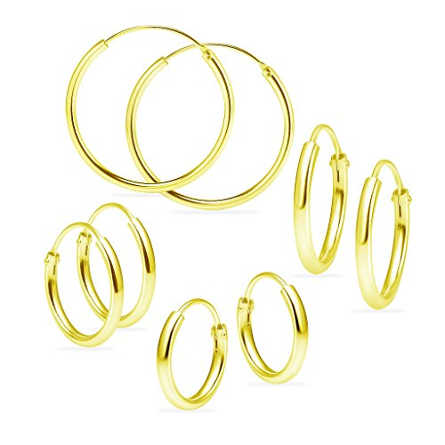 (Sterling Silver Endless Hoops 1.2mm x 10mm 12mm 14mm 24mm 4 Pairs Thin Round Unisex Earrings Set for Women & Girls Yellow Gold Flashed)