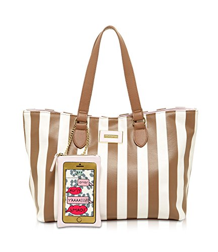 Betsey Johnson Kitch Phone Case Pouch With Stripe Tote Handbag - Spice (Johnson Stripe Betsey)