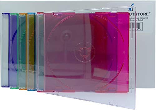CheckOutStore (50) Slimline Single 1-Disc CD Jewel Cases (Assorted Color) ()