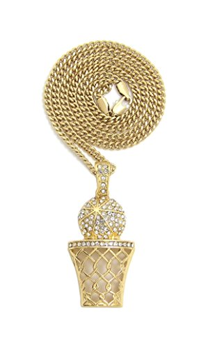 Fashion 21 Iced Out Basketball Hoop Pendant 24