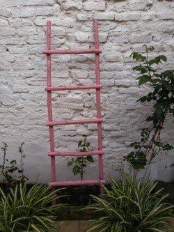 BUSCOCARPINTERO Escalera DE Madera Envejecida Rosa 145 CM X 45 CM Rustica Retro Vintage 4 PELDAÑOS Decorativa HOGAR: Amazon.es: Hogar