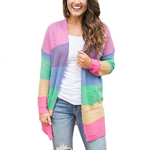 NEXLOMOS Womens Autumn Rainbow Color Stripe Long Sleeve Knitting Long Cardigan with Pocket Casual Sweater (XL,Color Stripe)