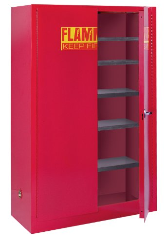 Sandusky Lee PC60 Red Steel Paint and Ink Storage Cabinet, 5 Adjustable Shelves 60 gallon Capacity, 65'' Height x 43'' Width x 18'' Depth by Sandusky