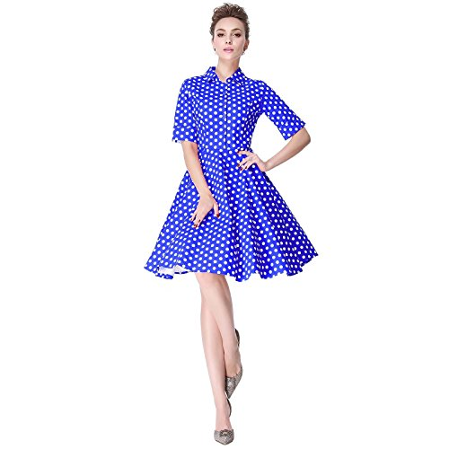 Heroecol Vintage 1950s 50s Dress Style Retro Rockabiily Cocktail Dots XS BWD
