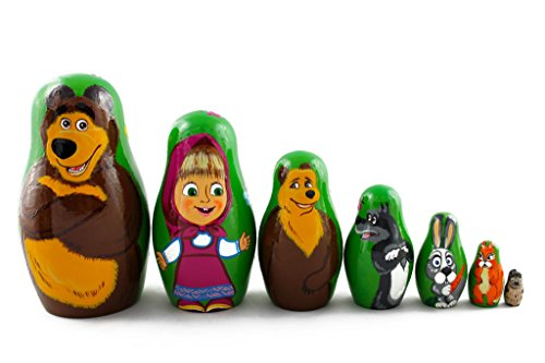 Matryoshka Russian Nesting Wooden Doll Masha and Bear Cartoon 7 Pcs Set Gift Decorative Stacking Hand Painting Beautiful Nested Great Craft from MATRYOSHKA&HANDICRAFT