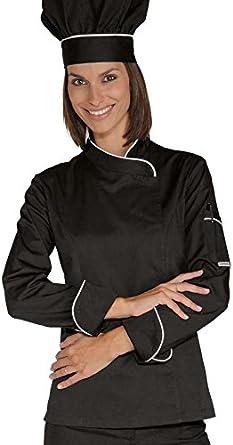 Isacco Veste Chef Femme Snaps Noir Blanc Polycoton