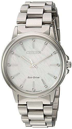 Citizen Women's 'Eco-Drive' Quartz Stainless Steel Casual Watch, Color:Silver-Toned (Model: FE7030-57D)