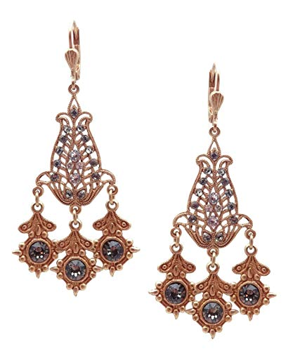 Catherine Popesco Dark Grey & Crystal CLR Swarovski Crystal Goldtone Chandelier Earrings