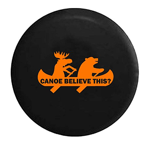 - Orange - Moose Bear Canoe Outdoors Funny Camping Jeep Spare Tire Cover Vinyl Black 33 in