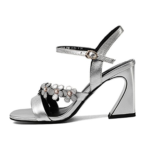Tacón Sandalias Cuero Latón de EU de Hebilla Zapatos Latón Mujer Tamaño Flor Color 36 de AnchengKAO Mujer qARg8tnt