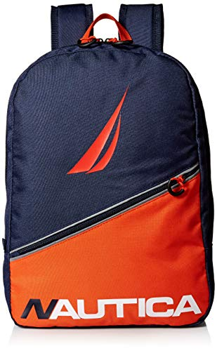 Nautica Little Diagonal Front Zip Full Size Backpack for Kids,  Blue/red, One Size (Nautica Padding)