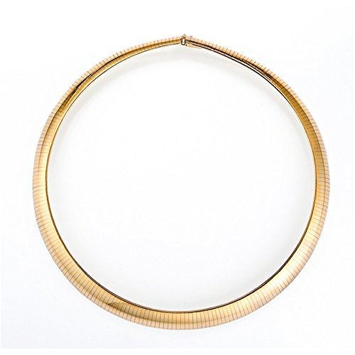 14k Yellow Gold 12mm Omega Dome Necklace - 18""
