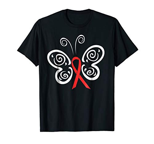 Red Ribbon Butterfly Blood Cancer HIV AIDS Awareness T-shirt -