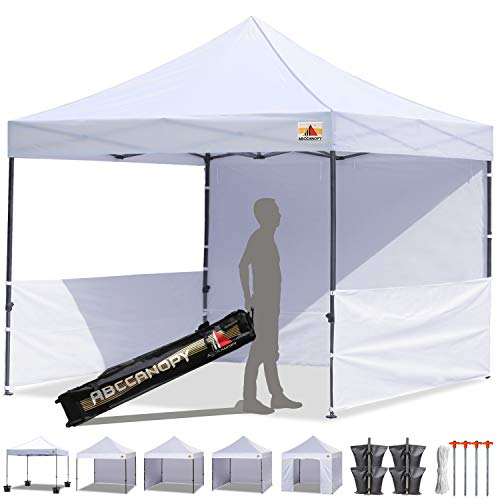 - ABCCANOPY 10'x10' Pop-up Canopy Tent Commercial Instant Tent with 4 Removable Zipper End Side Walls and Roller Bag, Bonus 4 SandBags & 2 Half Walls