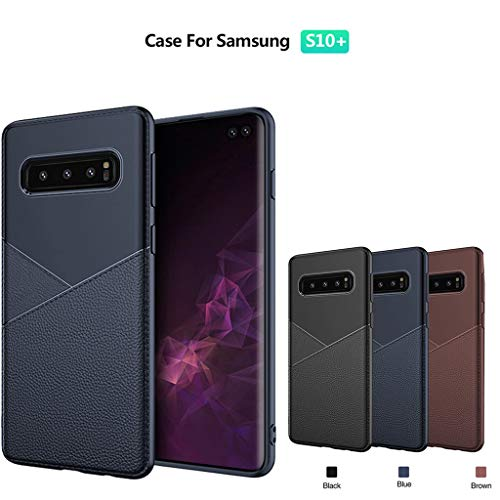 for Samsung Galaxy S10 Plus Case,Thing-ning Slim Fit Premium PU Leather Soft TPU Bumper Rugged Grip Shockproof Protective Cover Cases Compatible with Samsung Galaxy S10 Plus (Black) by thing-ning Phone Case (Image #2)