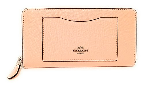 Coach F54007 Crossgrain Leather Accordion Zip Wallet Light Pink