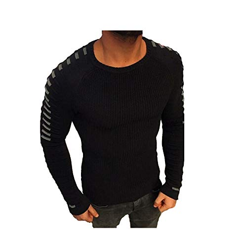 Hirate Winter Men's Knitted Sweater Casual Striped Long Sleeve Pullover Sweater Spring Elastic Patchwork (M, Black) ()