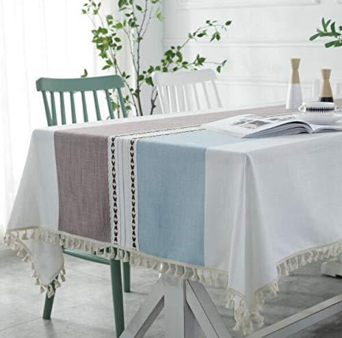 LYJZH Mantel Interior Bordado borlas con Mesa de Encaje Mesa de Centro Mesa de Tela paño Azul cálido café 140 * 300