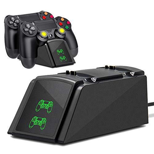 Cargador Mando PS4, Tihokile Estacion de Rapida Carga para Controlador Playstation4 / Ps4Pro / Ps4 Slim, Muelle de Carga Dual con Indicador LED y Cable USB