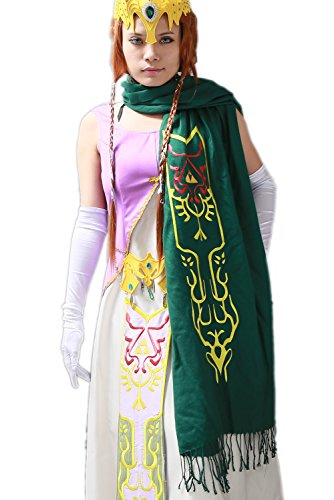 Zelda Cosplay Costume For Sale (XCOSER New Arrival Winter Triforce Embroidered Scarf Green Style B)