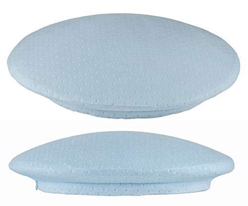 Sona Pillow O, Anti-Aging Round Shaped Memory Foam, Anti-Snore Pillow, Inner Area Compartment for BlueTooth Speaker, Anti-Wrinkle Smooth, Skin Ultra Soft Cotton Light Blue, Side Back Stomach Sleeper
