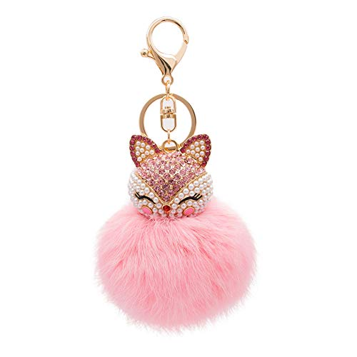 HOYUNLA Rabbit Fur Ball Pom Pom Keychain with Fox Head Inlay Pearl Rhinestone for Women Backpack Car Key Chain Decoration (pink)