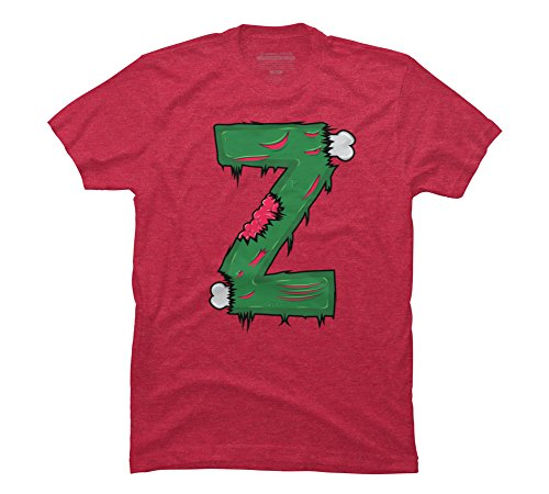 (Z for Zombies Men's Large Red Heather Graphic T Shirt - Design By)
