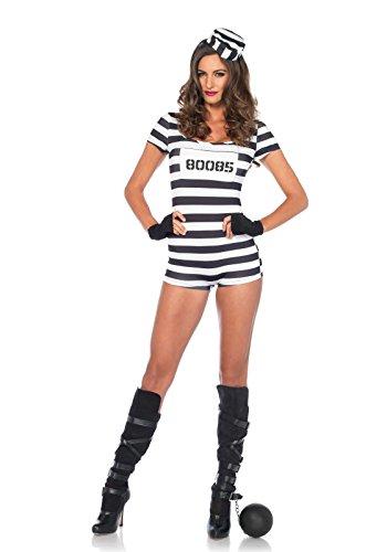Leg Avenue Women's Convicted Cutie Prisoner Costume, Black/White, Small