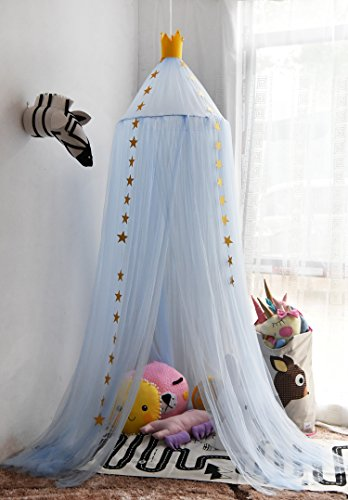 Hoomall Mosquito Net Bed Canopy Round Lace Dome Princess Play Tent Bedding for Baby Kids Children's Room 240cm (Blue) Blue Canopy