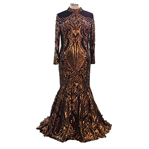 shaobeiq Elegant Mermaid Sequined Women's Prom Evening Shower Dress Celebrity Party Gown Long Sleeve Dresses US8 Gold