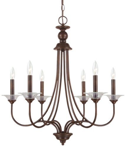 Sea Gull Lighting 31318-710 Chandelier with Clear Glass Bobeches Shades, Burnt Sienna Finish Sienna Mini Chandelier