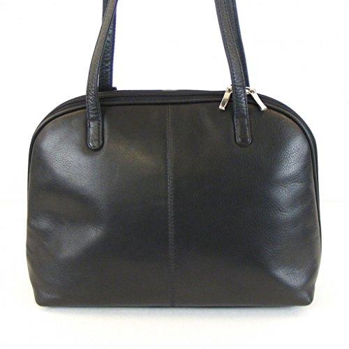 Pavini Damen Tasche Shopper Classics Leder schwarz 12760 Reißverschluss RV-Fach