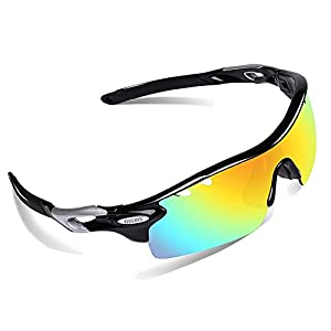 OBERLY S01 Polarized Sports Sunglasses with 4 Interchangeable Lenses for Men Women Cycling Baseball Golf Fishing Driving Glasses