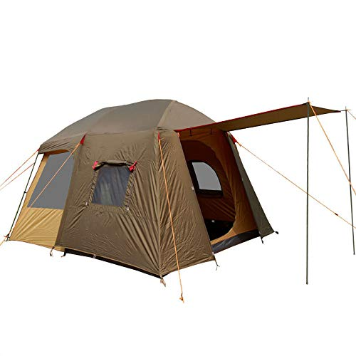 Outdoor Camping Tent Foldable One Room One Hall Double-Layer Large Tent for Family Party Travel Vacation, 8 Person,Brown