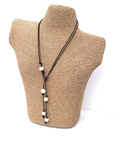 (Leather Pearl lariat necklace - anniversary gift - 22 inches)